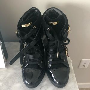Michael Kors black sneaker wedges/ booties